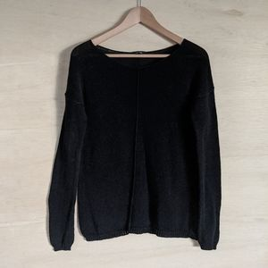 Theory Black Open Knit Oversized Pullover Sweater